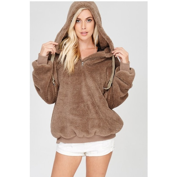 2018 shoes matching in colour exclusive deals Brown Teddy Bear Faux Fur Hoodie Sweater Jacket Boutique